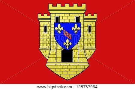 Flag of Etampes is a commune in the metropolitan area of Paris France.