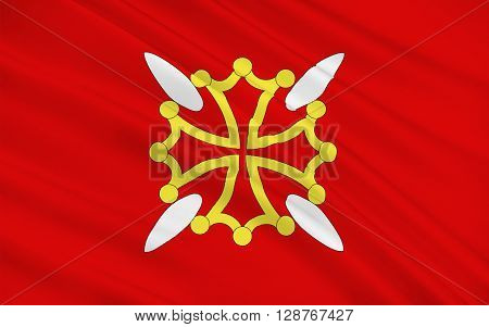Flag of Upper Garonne is a department in the southwest of France named after the Garonne river. Its main city and capital is Toulouse.
