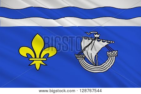 Flag of Hauts-de-Seine is a department of France. It is part of the Metropole du Grand Paris and of the Ile-de-France region and covers the western inner suburbs of Paris.