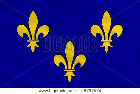 Flag of Ile-de-France also known as the région parisienne is one of the 18 regions of France and includes the city of Paris