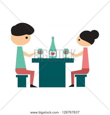Flat web icon on  white background husband wife dinner