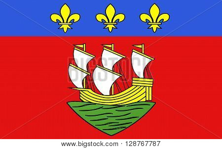 Flag of La Rochelle is a city in southwestern France and a seaport on the Bay of Biscay a part of the Atlantic Ocean. It is the capital of the Charente-Maritime department.