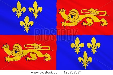 Flag of Landes - department in southwestern France a department in the Aquitaine region. The administrative center - Mont-de-Marsan.