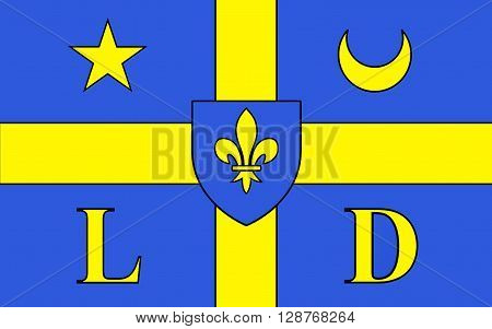 Flag of Lodeve is a commune in the Herault departement in the Languedoc-Roussillon region in southern France. It is a sub-prefecture of the department. The derivation of the city name is from Gaulish Luteva