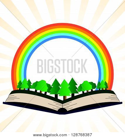 Illustration of a book with a rainbow at the forest on a white background