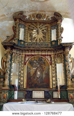VUGROVEC, CROATIA - MAY 07: Altar of the Saint Mishael in the Church of Saint Saint Michael in Vugrovec, Croatia on May 07, 2014