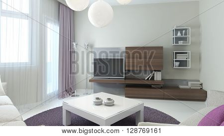 Living room contemporary style with brown wall cabinets white low table with glass tabletop and purple round carpet in the center. 3D render