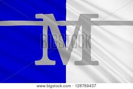 Flag of Montpellier is a city in southern France. It is the capital of the Languedoc-Roussillon region as well as the Herault department.