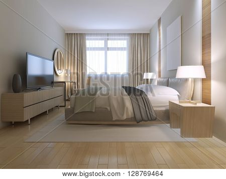 Contemporary bedroom design. Spacious room with light wood parquet flooring light furniture and white walls with decorative niche. Massive double bed on white nylon carpet. 3d render