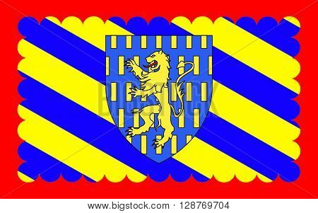 Flag of Nevers is the prefecture of the Nievre department in the Bourgogne-Franche-Comte region in central France