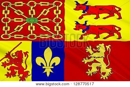 Flag of Pyrenees-Atlantiques is a department in Aquitaine southwest of France.