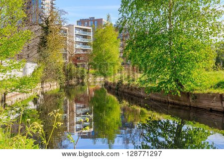 Waterfront apartments located beside new river path in London