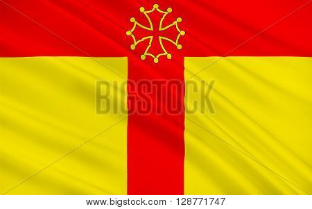 Flag of Tarn is a French department located in the Languedoc-Roussillon-Midi-Pyrenees region in the southwest of France named after the Tarn river. Its prefecture and largest city is Albi.