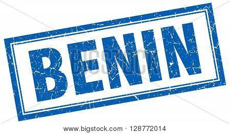 Benin Blue Square Grunge Stamp On White