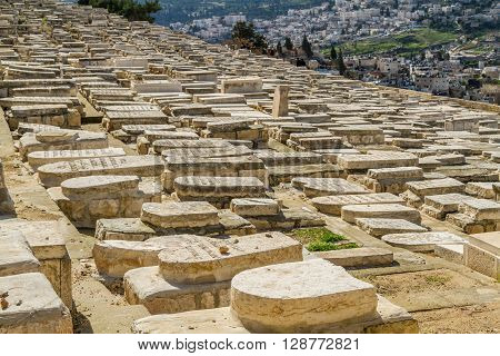 JERUSALEM ISRAEL - JANUARY 5: The ancient Jewish Cemetery on the Mount of Olives in the Old City of Jerusalem Israel on January 5 2016