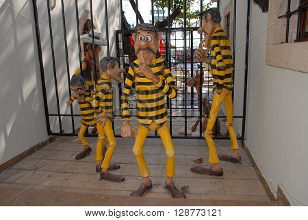 ANTALYA/TURKEY-OCTOBER 18, 2014 : The Daltons, Lucky Luke,and Rantanplan at the Toy Museum's Jail. October 18, 2014-Antalya/Turkey