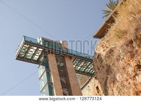 ANTALYA/TURKEY-OCTOBER 18: Falaise and panoramic elevator at the Kaleici site. October 18, 2014-Antalya/Turkey