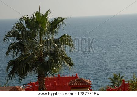 ANTALYA/TURKEY-19 OCTOBER 2014-Chinese Restaurant's roof at the coast near the Konyaalti Beach Antalya Province Turkey