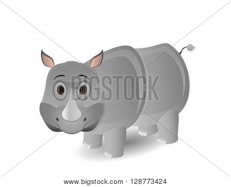 cute cartoon isolated rhino illustration on white background