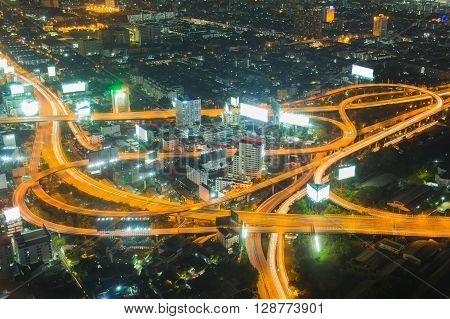 Aerial view, city highway interchanged night view
