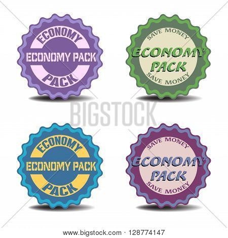 Four isolated stickers with the text economy pack written on each sticker