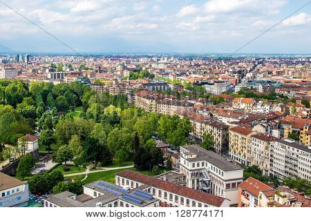 Panoramic view of Turin a city in Piedmont Italy