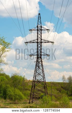 High-voltage power line in the natural landscape