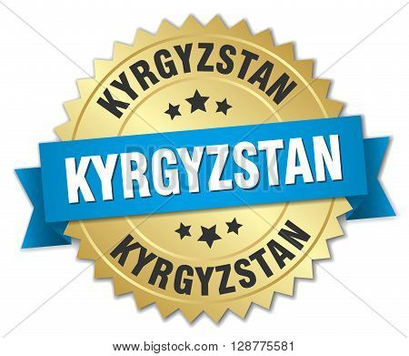 Kyrgyzstan round golden badge with blue ribbon
