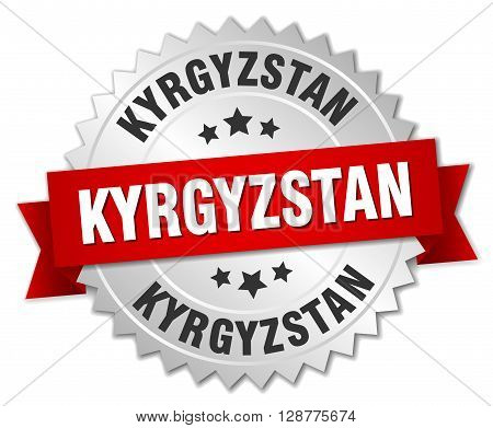 Kyrgyzstan round silver badge with red ribbon