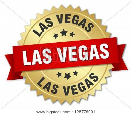 Las Vegas round golden badge with red ribbon