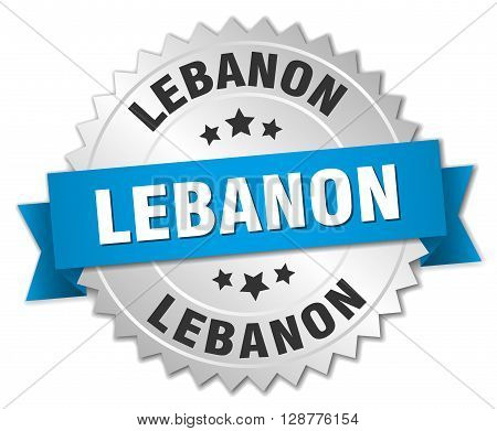 Lebanon round silver badge with blue ribbon
