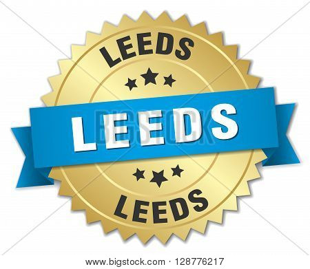 Leeds round golden badge with blue ribbon