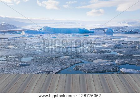 Opening wooden floor, Iceland winter landscape natural background