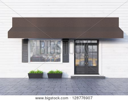 White plank cafe exterior with brown canopy. 3D Rendering