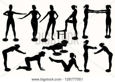 Woman silhouette. Waist twisting disc exercises on a white background.