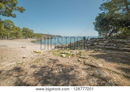 Mediterranean cost of Turkey: beach next to ancient city of Phaselis