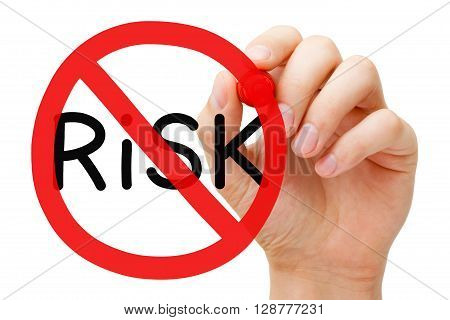 Hand drawing Risk prohibition sign concept with marker on transparent wipe board. Risk free guarantee concept.