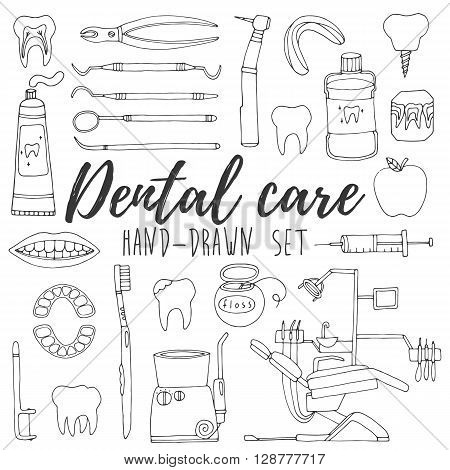 Dental care icon set. Hand drawn dental collection