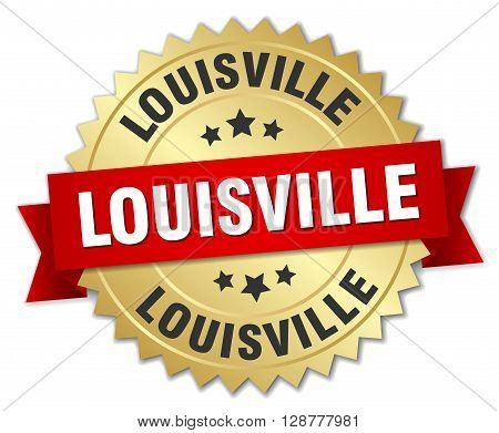 Louisville round golden badge with red ribbon