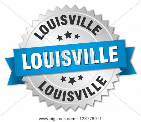 Louisville round silver badge with blue ribbon