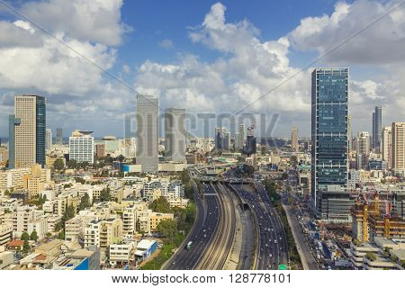 Tel Aviv City Skyline And Ayalon Freeway At Cloudy Day