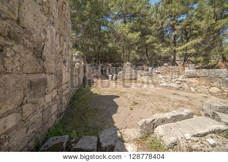 Antique city of Phaselis, Antalya Destrict, Turkey in the spring