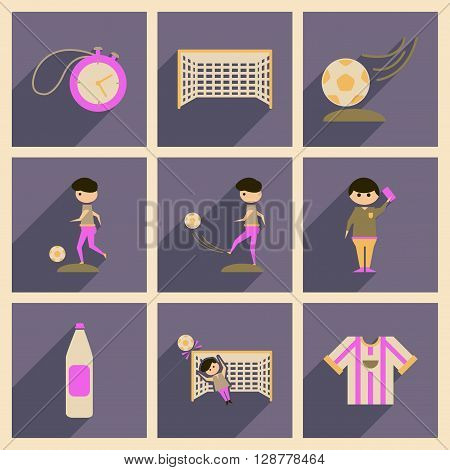 Concept of flat icons with long  shadow football