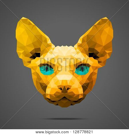 Sphynx cat low poly portrait. Gold gradient. Side light source. Abstract polygonal illustration.