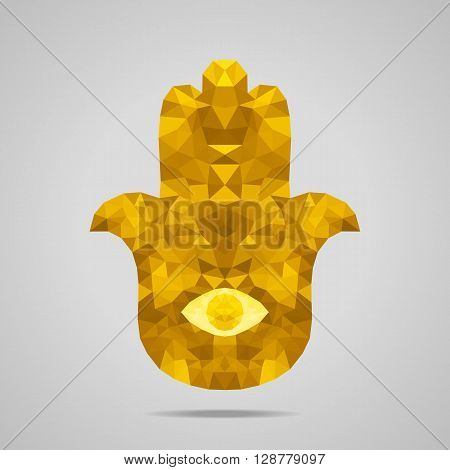 Protective amulet in the shape of palm - Hamsa. Low poly design. Abstract polygonal illustration. Gold version.