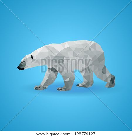 Vector polar bear stylized triangle polygonal model. Low poly design. Abstract polygonal illustration. International Polar Bear Day.