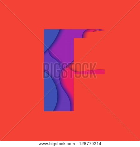 Letter F design template element. Material design Character F vector logo, icon and sign.