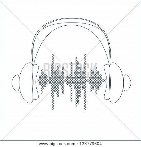 Vector sound wave with headphones. Equalizer Music polygons waveform thin line background. You can use in club, radio, pub, party, concerts, recitals or the audio technology advertising background.