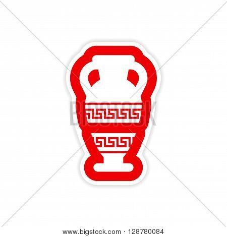 paper sticker on white background Greek amphora