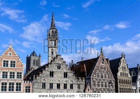 Facades of old buildings in Ghent Belgium